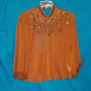 Forever 21 Brown Sheer long sleeve embellished top